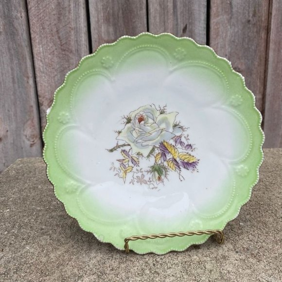 Hand painted Green with Roses Imperial China Plate